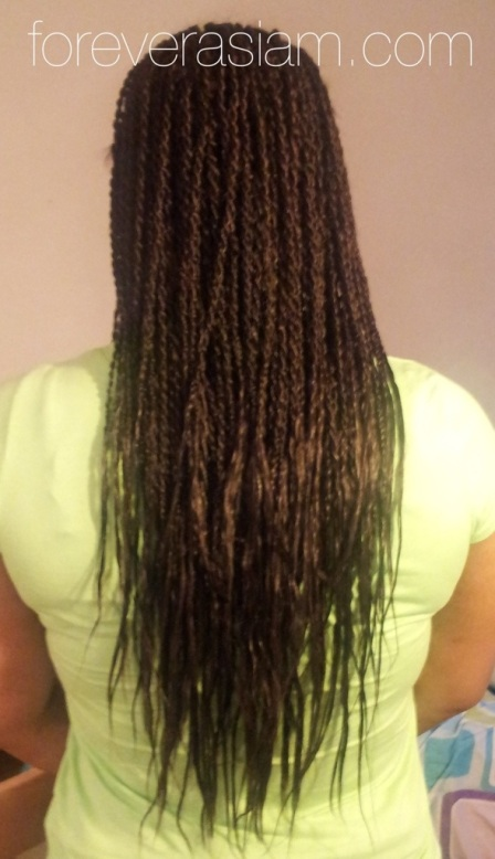 I used 5 packs of hair and cut them in half to achieve tailbone length twists